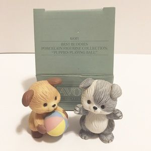 Avon, Puppies Playing Ball Figurines